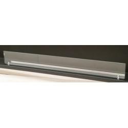 Vetro frontale 156 cm x 10 cm + 2 staffe color argento - vetro per biocamini