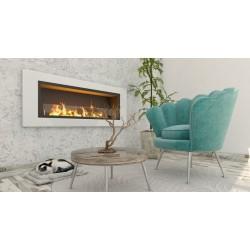 Biocamino da parete mod. Primo Amore Bianco 150x60x18 cm con bruciatore unico con vetro 150