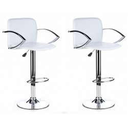 SGABELLO TOKIO (XH 101-2),SHINNING bianco PVC LEATHER COVERED, coppia di sgabelli design, stool,PVC