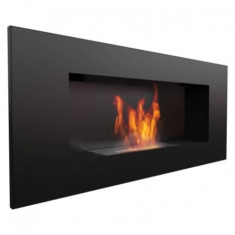 Biocamino nero 90x40 cm da parete Delta 2 bruciatore da 1,2 litri Camino Bioetanolo Da Parete 90X40X16,2 Cm Flig Huston 2 Ner