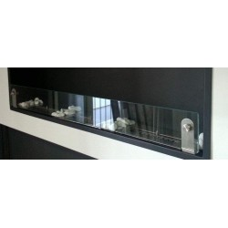 Vetro frontale camini 45cm x 10 cm + 2 staffe in acciaio