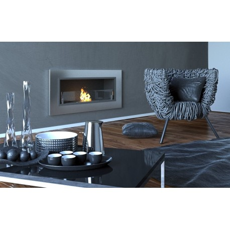 Biocamino 90x40 cm con vetro da parete bruciatore argento for Parete argento