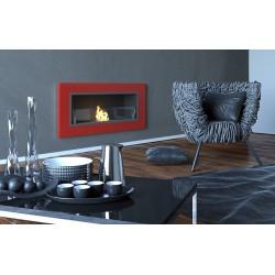 Biocamino 90x40 cm con vetro da parete - rosso -bruciatore da 1.5 litri