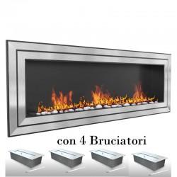 Biocamino London 150x58x16 cm 4 mega bruciatori con vetro