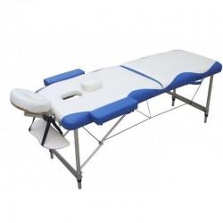 LETTINO MASSAGGIO ALLUMINIO 2 ZONE 6 cm. imbottitura,FD060,super leggero Bianco blu,portatile professionale