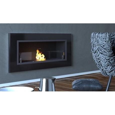 Biocamino 90x40 cm con vetro da parete Bruciatore Nero lucido
