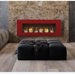 Biocamino 110x40X15 cm Rosso con vetro continental basic