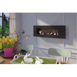 Biocamino da parete mod. Venezia Nero 150x60x18 cm con 3 bruciatori regolabili con vetro 150